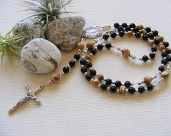 Picture Jasper - Black Onyx Handmade Rosary - Brown Black Gemstone Beads - Catholic Rosary - Made in the UK