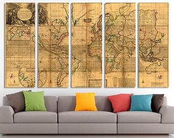Antique world map etsy vintage world map old world map antique world map canvas world map wall gumiabroncs Gallery