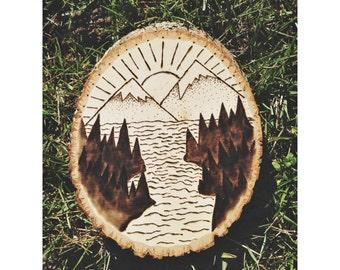Mountain Scenery Wood Burn