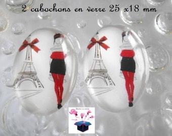 2 cabochons glass 25mm x 18mm Parisian theme