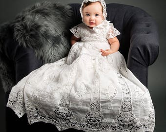 Grace Christening Gown & Bonnet Set, Grace Baptism Gown, Girls Blessing Gown