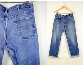 Orange Tab Levis Jeans 36, Vintage Clothing, Boyfriend Jeans, Faded Jeans, Baggy Jeans, Grunge Clothing, Vintage Jeans, Distressed Levis