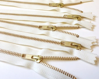 Metal YKK zippers wholesale, 7 inches, TEN pcs, vanilla, off white YKK color 121