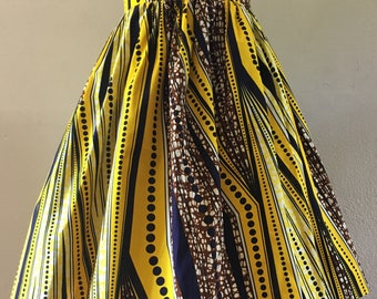 Beautiful African Wax Print High Waisted Skirt Fit and Flare Yellow Brown Black Geometric Print 100% Cotton