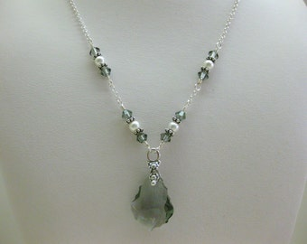 Light Black Crystal Y Necklace - FREE SHIPPING