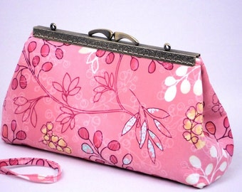 Pink Bridesmaid Clutch, Gift, Formal Dressy Bag, Handmade Clutch Purse by WhiteCross Designs, Ready to Ship