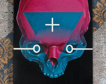 Skull, acrylic, canvas, 20х25 cm.