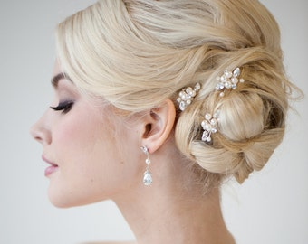 Bridal Hair Pins, Wedding Hair Pins, Swarovski Hair Pins, Pearl Hair Pins, Wedding Hair Accessory