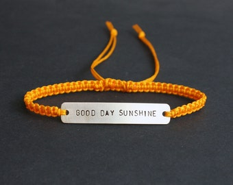 Good Day Sunshine Sterling Silver or Brass and Macramé Bracelet, Choice Of Colours Available