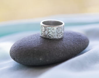 Sterling Silver Ring - Stamped Silver Ring - Wide Silver Band - Paisley Daze Designs