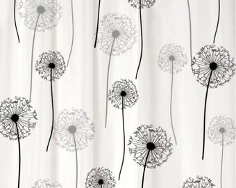 Dandelion Floral Shower Curtain You PICK COLORS Standard or Extra Long Length 70, 78, 84, or 96 Inch Lengths for Your black and gray decor