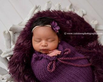 Plum Mongolian Faux Fur Nest Photography Prop Rug Newborn Baby Toddler