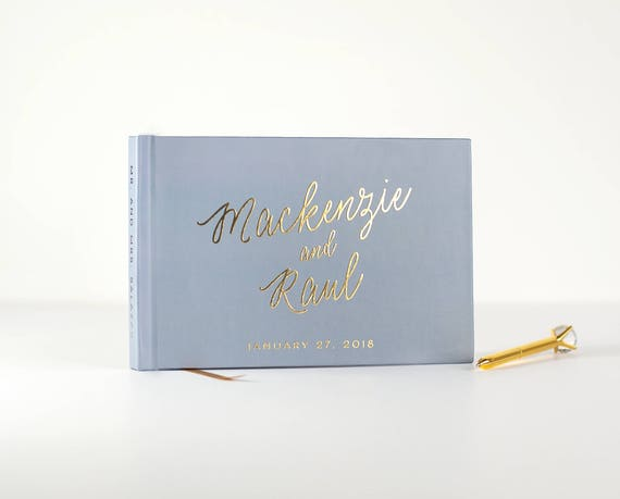 Wedding Guest Book Gold Foil landscape guestbook horizontal wedding book Rose Gold Foil wedding guest book photo guest book dusty blue book