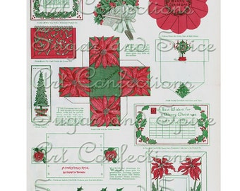 1914 Christmas Tags and Boxes to Make Digital Collage sheet  Reproduced