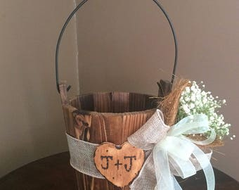 Rustic flower girl basket- Flower Girl Basket- Flower girl- Burlap Baskets Rustic - Shabby Chic Weddings- Rustic wooden basket- Flower girl