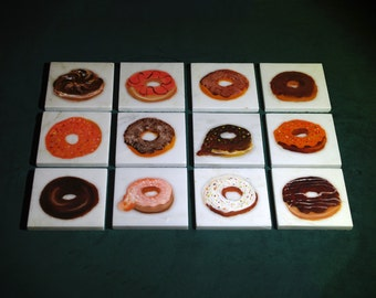 Donut Coaster Set of 4 - Hand Painted, Oil on Marble Tile