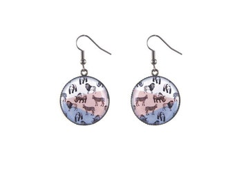 Round safari image earrings