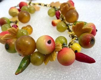 Vintage celluloid papier mache' Carmen Miranda fruit salad necklace