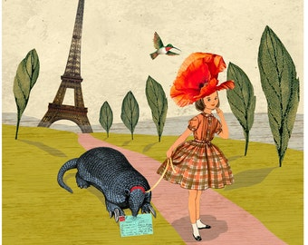 COLLAGE PRINT - Childrens room art, collage art, Eiffel Tower print, whimsical prints,  hummingbird art, mixed media art, surreal art