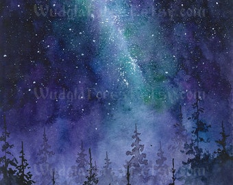 Pagan art Druid fantasy art  INSTANT DOWNLOAD Watercolor painting Woodland Nature lover gift Wicca Stars Full Night sky Milky way Forest art