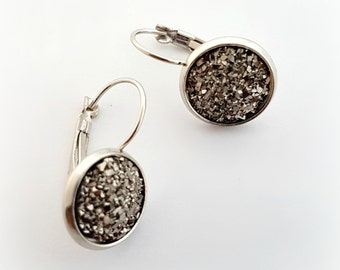 Gunmetal round druzy earrings, geode earrings