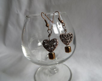 Copper Heart Earrings, earrings, copper, heart