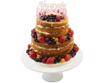 Always & Forever Wedding Cake Topper Decoration - Blue Or Pink