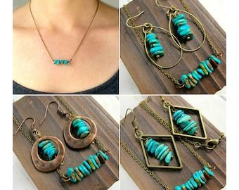 Kingman Turquoise Jewelry Set-Genuine Turquoise Jewelry-Real Turquoise Jewelry-Raw Stone Jewelry-Turquoise Earrings Dangle-Southwest Jewelry