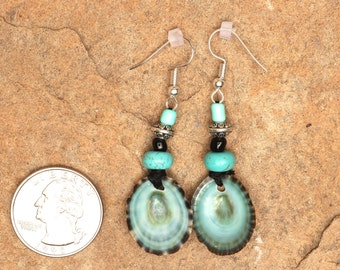 Turquoise Limpet shell earrings with turquoise and wood beads