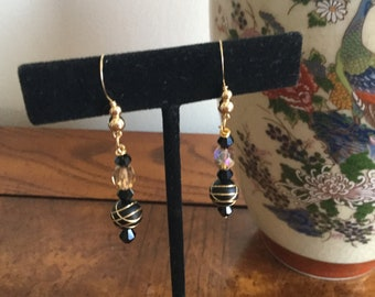 Black and Gold   Beaded Dangle leverback  Earrings, gifts, birthday