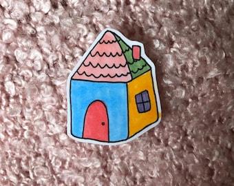 cute hand-drawn house sticker