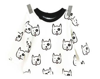 DOGGY - long sleeves  baby t-shirt  - baby and toddler - super cute gender neutral t-shirt
