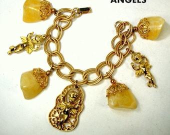 ANGEL Charm Bracelet,  1960s  Pale Yellow LUCITE Glob Charms, Gold Chain n Filigree Bead Caps, Mad Men Dramatic Bracelet