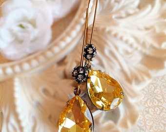 Citrine Yellow Dangle Earrings - Teardrop Earrings - Crystal Earrings - COVET Buttercup