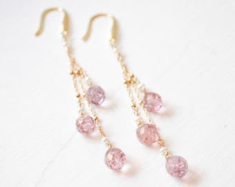 Long Pink Quartz Earrings, 14kt Gold-Fill Gemstone Earrings, Blush and Gold Earrings, Gold Jewelry