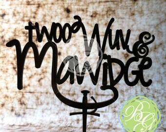 Twoo Wuv & Mawidge Wedding Cake Topper, Geekery Wedding Caketopper, Renaissance Wedding, Anniversary Cake, True Love *Original Design*