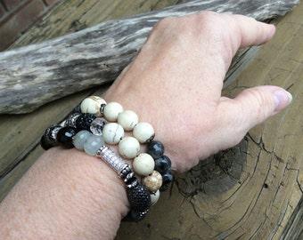 Labradorite Stack, Labradorite Beaded Bracelet, Stack Gemstone Bracelets, Handmade Artisan Jewelry, Set of Three Gemstone Stack Bracelets