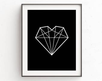 Digital Prints, Best Friends Gift, Gift Idea For Her, Printables, Bathroom Printables, Dorm Decorations, Printable Wall Art, Diamond Heart