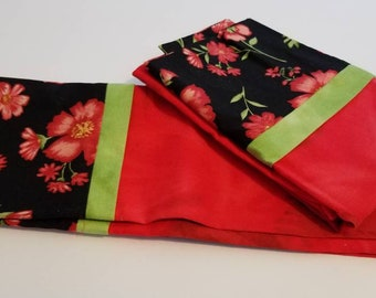 Set of two standard size floral pillowcases. handmade
