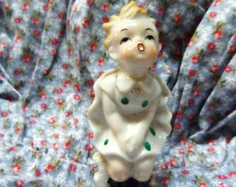Figurine of Girl in Polka Dot Dress with Wind Blowing Up the Back of the Dress- Marilyn Monroe Style- Sweet & Unusual-Old Made in Japan