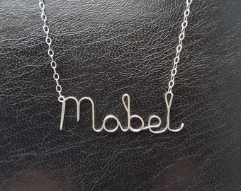 Name Pendant Mabel Sterling Silver Custom Wire Word  Necklace Designer in UK