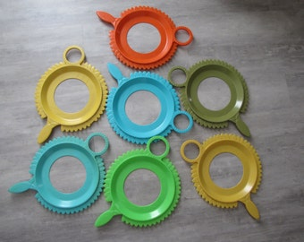 Set of Vintage Serva - Plate // Plastic Paper Plate Holders - set of seven & paper plate holder wooden holder ivy plate holder paper