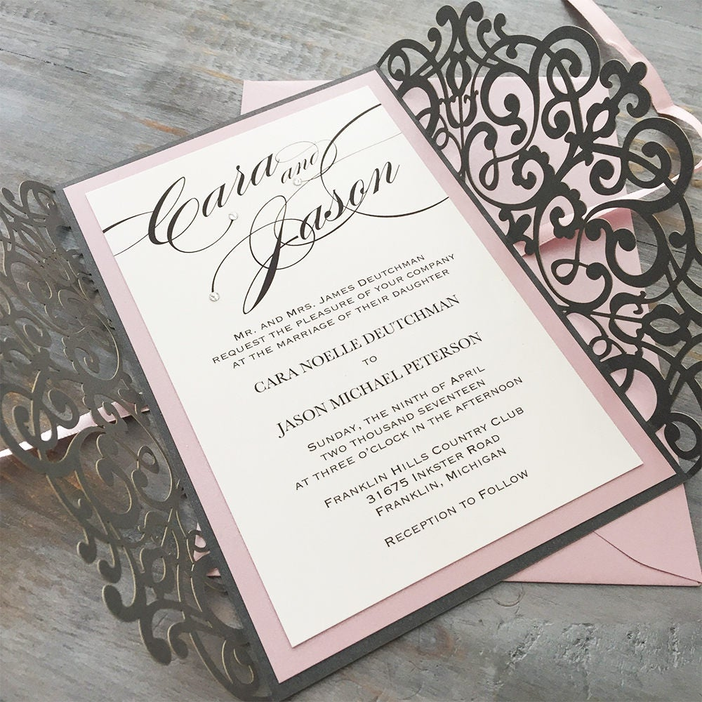 CARA - Steel Gray Laser Cut Wedding Invitation with Blush Pink ...
