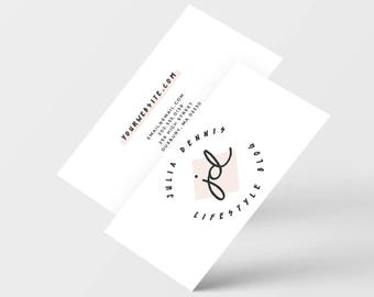 Premade Business Card Design, Ready to Print Pink Business Card, Personalized Minimalistic Sleek Business Card Design, Blog Business Card