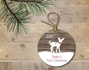 Baby's First Christmas Ornament, Deer Ornament, Woodland Creatures, Deer, Christmas Ornament, Baby Shower Gift, New Baby, Christmas Gift