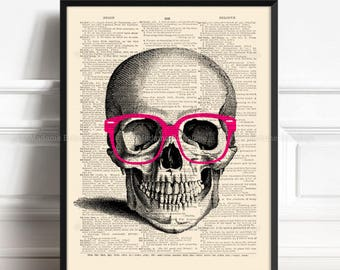 Human Skull Decor, Skull Geekery, College Room Wall, Nerdy Skull, Xmas Poster Gift, Her 18th Birthday, Hipster Print Gift, Art Print 187