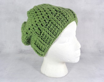 Green slouchy hat womens slouch beanie - summer hat for men and women - tea leaf cobblestone slouchy beanie hat