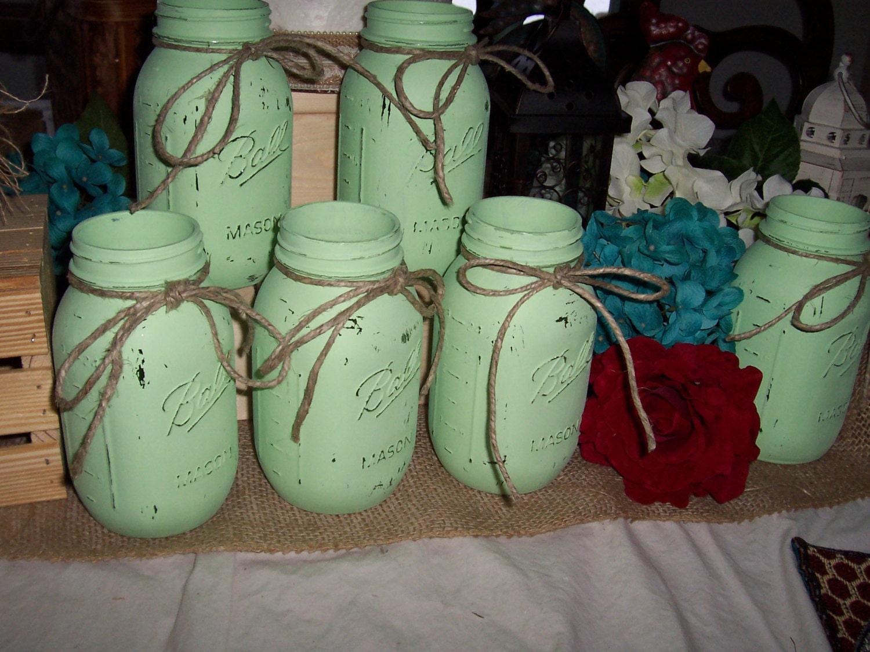 Mint green decor flower vases painted mason jar mint zoom reviewsmspy