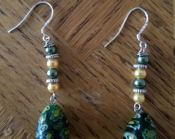 Green and Yellow Silver Dangle Earrings