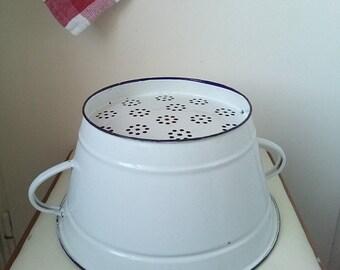 20%Off Rustic white strainer Vintage enamel colander, strainer, berry bowl, rustic kitchen decor, white antique farmhouse